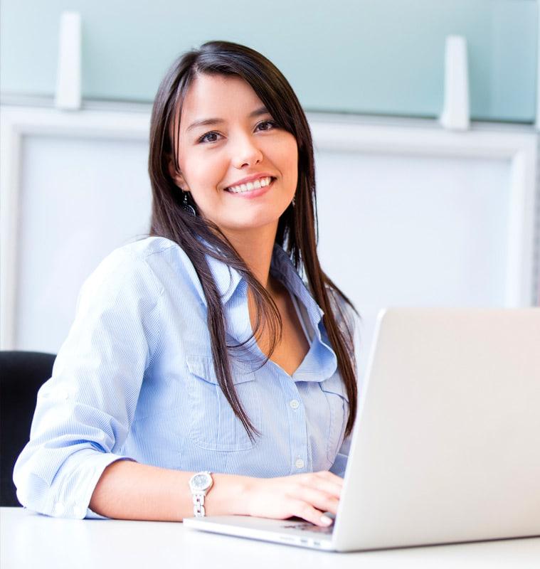 smiling woman laptop