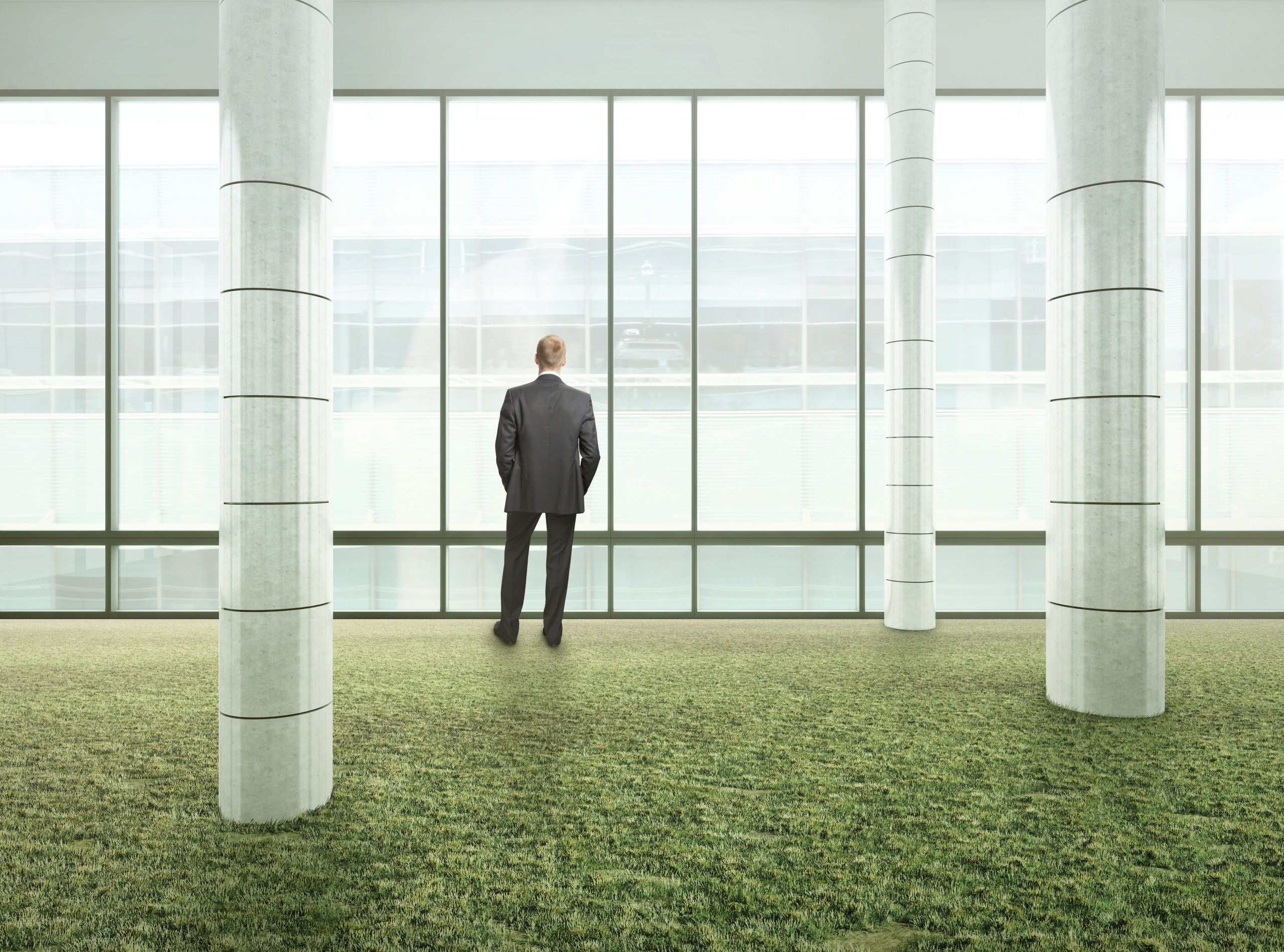 Man standing in front of windows in an eco office space.