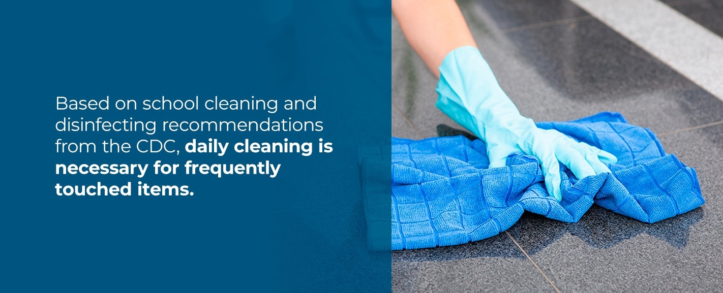 clean frequently touched surfaces throughout the day